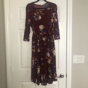 Maroon floral print dress